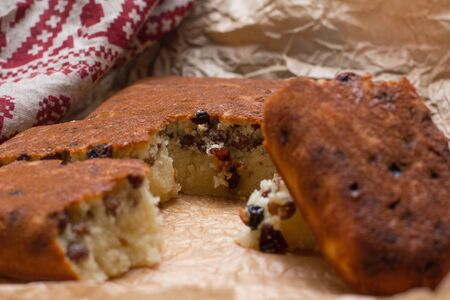 Homemade semolina cake with raisins in rustic style Stock Photo