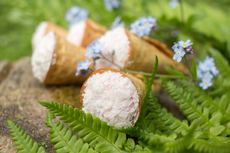 stuffing: Still life - waffle cones in green leaves, delicious dessert
