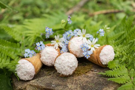 Still life - waffle cones in green leaves, delicious dessert