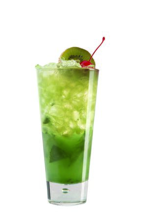 Cocktail with kiwi and cherries for decoration on white background