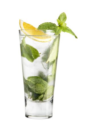 Cocktail mojito in a high glass on a white background Stock Photo