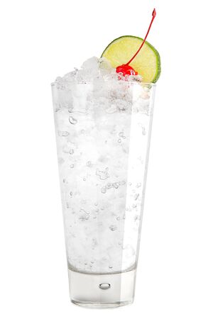 Refreshing cocktail with ice and a slice of lime and maraschino cherry