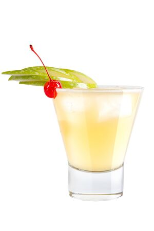 Refreshing cocktail with apple slices and maraschino cherry for decoration on a white background