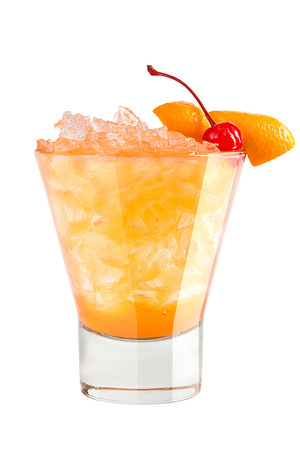 Refreshing cocktail with orange peel and maraschino cherry decoration on white background