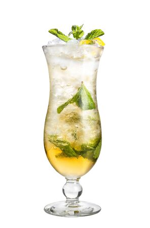 A refreshing cocktail with mint and lemon. Alcohol cocktail on a white background, isolated