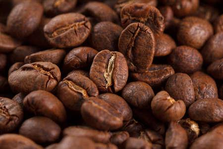 coffee beans macro photo, coffee wallpaper closeup Stock Photo