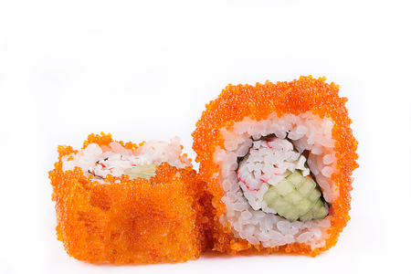 japanese Cuisine, Sushi Set: sushi and sushi rolls in caviar with cucumber and crab meat on a white background. isolated.