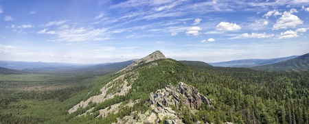 ural: Panoramic view of the mountains and cliffs, South Ural. Summer in the mountains.View from the mountains. Travel.