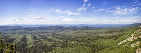 urals: Panoramic view of the mountains and cliffs, South Ural. Summer in the mountains.View from the mountains. Travel.