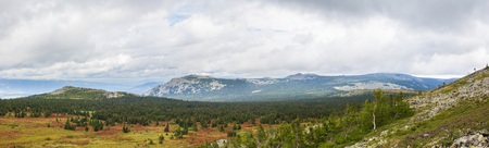 urals: Panoramic view of the mountains and cliffs, South Ural. Summer in the mountains. Travel.