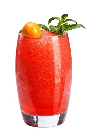 A refreshing fruit cocktail. A refreshing drink with a flesh of red berries, decorated with mint and physalis. isolated.