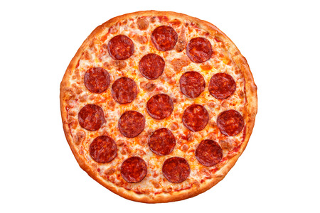 Pepperoni pizza. Italiaanse pizza op witte achtergrond.