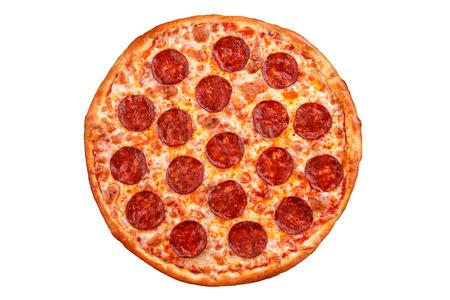 Pepperoni pizza. Italian pizza on white background. Stockfoto