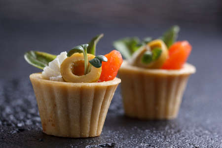 Tartlets with salmon and cheese cheese with micro-green on a dark background. Cold appetizer. Stock Photo