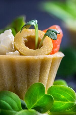 Tartlet with salmon and curd cheese with micro-green on a dark background. Coid appetizer.