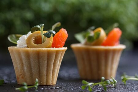 Tartlets with salmon and cheese cheese with micro-green on a dark background. Cold appetizer. Stock Photo - 81866963