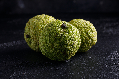 hedgeapple: Adams apple on a black background. maclura. Macro. Stock Photo