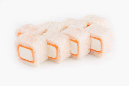 Appetizing rolls set with salmon and cheese on a white background.