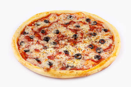 Pepperoni pizza on white background side view. Isolated. Stock Photo