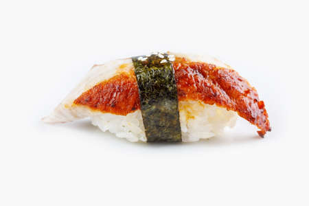 Original sushi unagi on a white background top view. Isolated.