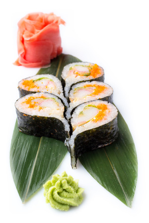 Rolls of unusual shape in the form of a drop. Sushi roll turned on a white background. Sushi Japanese food in a restaurant. Japanese restaurant menu. Isolated on white background. Stok Fotoğraf