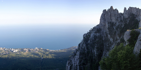 Stunning views of the sea and Mount Ai-Petri peninsula Crimea. Mountain landscape.