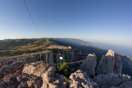 The cable car on the top of the Ai-Petri mountain peninsula Crimea. Magnificent view of the mountain landscape.