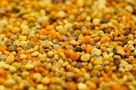 The texture of bee pollen. Bright pollen. Bee product. Close-up.