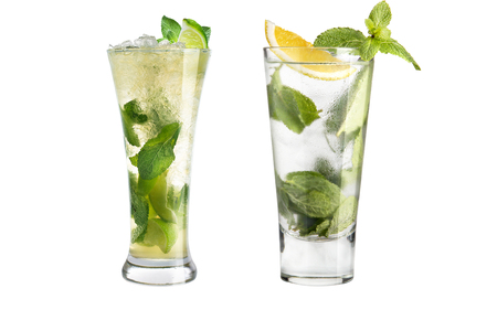 Mojito cocktail. Set of two mojito in glass goblets on a white background. Isolated.