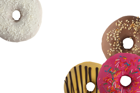 Different bright tasty donuts on a white background. Place under the text. Diversity. Close-up. 免版税图像 - 122032323