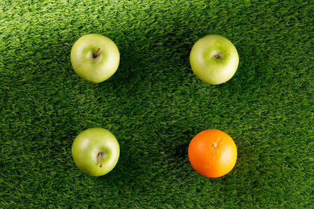 Abstract green background. Bush grass. Copy space. Place under the text.Three green apples and one orange.Square of fruit.