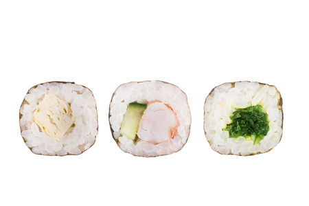 Sushi rolls isolated on white background. Collection. Closeup of delicious japanese food with sushi roll. Stock Photo - 122032720