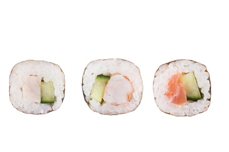 Sushi rolls isolated on white background. Collection. Closeup of delicious japanese food with sushi roll. Stock Photo - 122032851