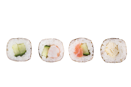 Sushi rolls isolated on white background. Collection. Closeup of delicious japanese food with sushi roll. 免版税图像 - 122032927