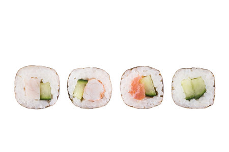 Sushi rolls isolated on white background. Collection. Closeup of delicious japanese food with sushi roll.