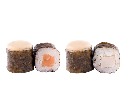 Classic sushi at white background. Japanese seafood sushi , roll a white background. Close-up. Stock Photo - 122032976