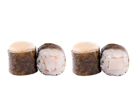 Classic sushi at white background. Japanese seafood sushi , roll a white background. Close-up. Stock Photo - 122033053