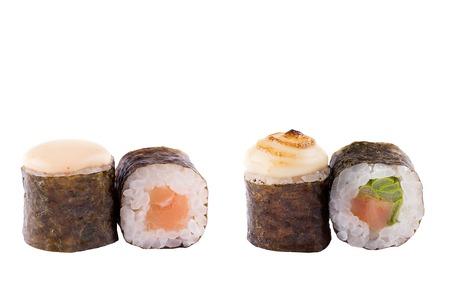 Classic sushi at white background. Japanese seafood sushi , roll a white background. Close-up.