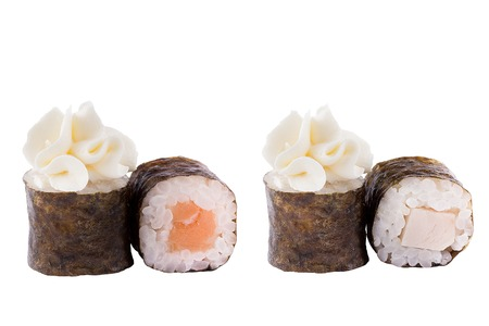 Classic sushi at white background. Japanese seafood sushi , roll a white background. Close-up. Stock Photo - 122033058