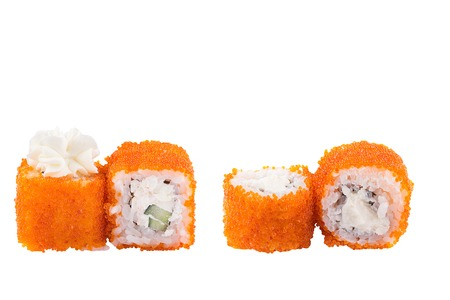 Classic sushi at white background. Japanese seafood sushi , roll a white background. Close up. Stock Photo - 122033077