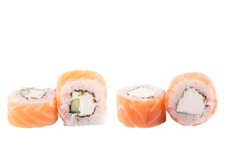 Classic sushi at white background. Japanese seafood sushi , roll a white background. Close up. Stock Photo - 122033105