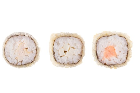 Classic sushi at white background. Japanese seafood sushi , roll a white background. Close up.
