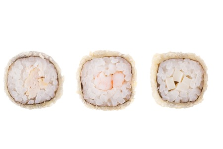 Classic sushi at white background. Japanese seafood sushi , roll a white background. Close up.