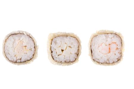 Classic sushi at white background. Japanese seafood sushi , roll a white background. Close up. Stock Photo - 122498312