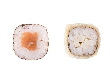 Classic sushi at white background. Japanese seafood sushi , roll a white background. Close up. Stock Photo - 122498332