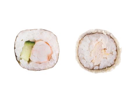 Classic sushi at white background. Japanese seafood sushi , roll a white background. Close up. Stock Photo - 122498326