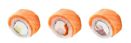 Classic sushi roll. Sushi on a white background. Japanese sushi seafood roll white background. Isolated. Stock Photo