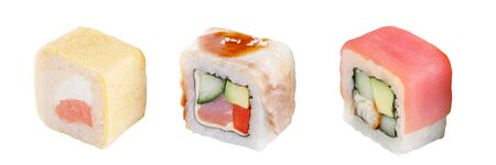 Classic sushi roll. Sushi on a white background. Japanese sushi seafood roll white background. Isolated. 写真素材