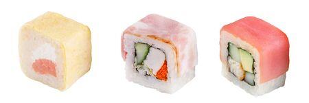 Classic sushi roll. Sushi on a white background. Japanese sushi seafood roll white background. Isolated. Stock Photo