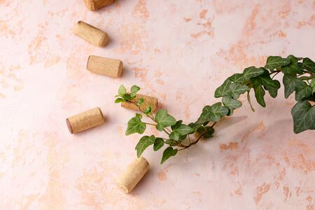 Refined textural background and corks for wine. Copy space. Place for your text. Close-up.